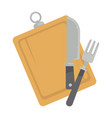 board with tableware vector image