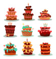 cakes or dessert food bakery and pastry vector image