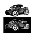 cartoon retro hot rod isolated black and white vector image