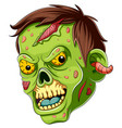 cartoon scary zombie face on white background vector image