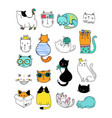 cat doodles collection of vector image