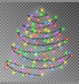 christmas color tree of lights string hanging on w vector image vector image