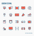 cinema festival thin line icons set vector image