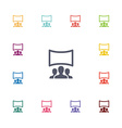 cinema hall flat icons set vector image