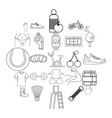 coaching icons set outline style vector image vector image