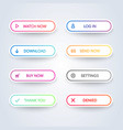 colorful flat line gradient web button set vector image vector image