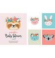 cute animals heads with flower crown vector image vector image