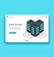 data center landing page isometric servers vector image vector image