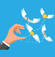 dollars and coins with wings flying away from hand vector image