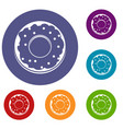 donut icons set vector image vector image