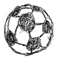 doodle hand drawn soccer ball icon vector image