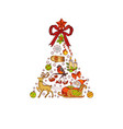 hand drawn colored christmas tree made vector image vector image