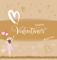 happiness woman holding heart shape balloons and vector image