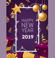 happy new year greeting card template with border vector image