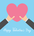 happy valentines day two businessman hands arms vector image vector image