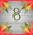 happy womens day card on wooden background vector image
