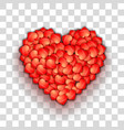 Heart shape of hearts on transparent grid vector image vector image