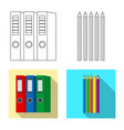 isolated object of office and supply symbol set vector image vector image