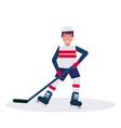 joyful ice hockey player holding stick skating vector image vector image