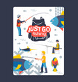 just go fishing character male web poster vector image