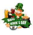 leprechaun in a green hat three kinds of beer vector image vector image
