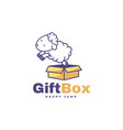 logo gift box simple mascot style vector image