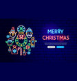 merry christmas neon banner design vector image vector image