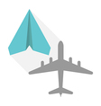 Paper plane real shadow vector image vector image