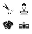 scissors boy and other web icon in black style vector image vector image