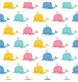 seamless sea pattern with funny whales summer vector image vector image