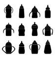 set black silhouettes baby bottles for milk vector image