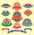 set retro blank labels and ribbons template vector image vector image