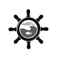 showroom fresh fish emblem with steering wheel and vector image