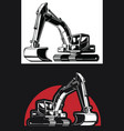 silhouette excavator backhoe digger construction vector image