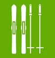 skis and ski poles icon green vector image vector image