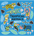 sticker set with tropical animals vector image vector image