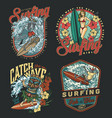 surfing club vintage colorful emblems vector image vector image