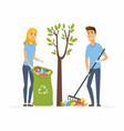volunteers collect garbage - cartoon people vector image vector image