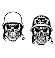 warrior and pilot skulls in military helmets vector image