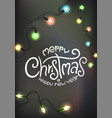 winter holidays greeting card glowing lights and vector image