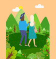 women walking in green park or forest back view vector image vector image