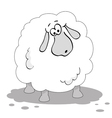 cartoon sheep in black and white vector image