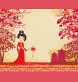geisha and chinese lanterns vector image