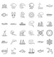 environment icons set outline style vector image