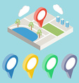 City map with GPS icons GPS isometric vector image