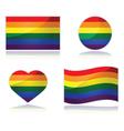 Rainbow flag set vector image