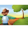 A backview of a young farmer vector image vector image