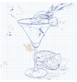 Alcoholic Cocktail Golden dream on a notebook page vector image vector image