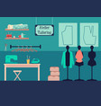 atelier tailoring design studio interior with vector image vector image