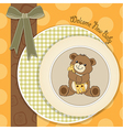 baby shower card with teddy bear and his toy vector image